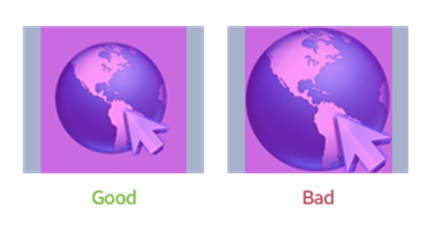 Figure 2-5. Good(left) and bad(right) examples of Icon