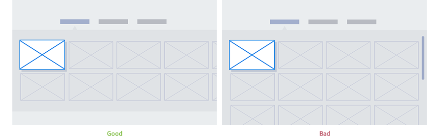 Figure 4-8. Good(left) and bad(right) examples of applying horizontal menu style