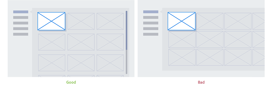 Figure 4-9. Good(left) and bad(right) examples of applying vertical menu style