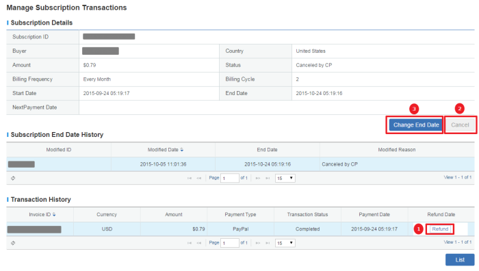 Figure 2.13 Manage Subscription Transactions