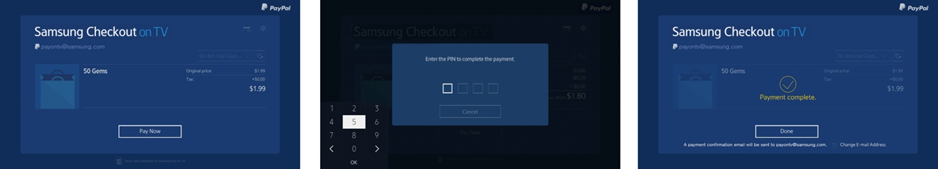 Figure 1. Frictionless 2-Step Checkout : 1. Confirm  -> 2. PIN Check  -> 3. Done